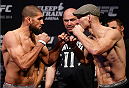 SACRAMENTO, CA - DECEMBER 13:  (L-R) Opponents Court McGee and Ryan LaFlare face off during the UFC on FOX weigh-in at Sleep Train Arena on December 13, 2013 in Sacramento, California. (Photo by Josh Hedges/Zuffa LLC/Zuffa LLC via Getty Images)