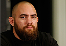LAS VEGAS, NV - DECEMBER 26:  Travis Browne interacts with media during the UFC 168 pre-fight press conference at the MGM Grand Hotel/Casino on December 26, 2013 in Las Vegas, Nevada. (Photo by Josh Hedges/Zuffa LLC/Zuffa LLC via Getty Images)