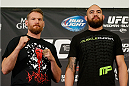 LAS VEGAS, NV - DECEMBER 26:  (L-R) Opponents Josh Barnett and Travis Browne pose for photos during the UFC 168 pre-fight press conference at the MGM Grand Hotel/Casino on December 26, 2013 in Las Vegas, Nevada. (Photo by Josh Hedges/Zuffa LLC/Zuffa LLC via Getty Images)
