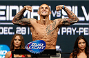 LAS VEGAS, NV - DECEMBER 27:  Dustin Poirier weighs in during the UFC 168 weigh-in at the MGM Grand Garden Arena on December 27, 2013 in Las Vegas, Nevada. (Photo by Josh Hedges/Zuffa LLC/Zuffa LLC via Getty Images)