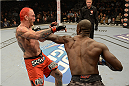 LAS VEGAS, NV - DECEMBER 28:  (R-L) Uriah Hall punches Chris Leben in their middleweight bout during the UFC 168 event at the MGM Grand Garden Arena on December 28, 2013 in Las Vegas, Nevada. (Photo by Donald Miralle/Zuffa LLC/Zuffa LLC via Getty Images) *** Local Caption *** Chris Leben; Uriah Hall