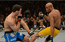 LAS VEGAS, NV - DECEMBER 28:  (R-L) Anderson Silva kicks Chris Weidman in their UFC middleweight championship bout during the UFC 168 event at the MGM Grand Garden Arena on December 28, 2013 in Las Vegas, Nevada. (Photo by Donald Miralle/Zuffa LLC/Zuffa LLC via Getty Images) *** Local Caption *** Chris Weidman; Anderson Silva