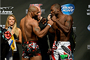 DULUTH, GEORGIA - JANUARY 14:  (L-R) Yoel Romero and Derek Brunson face off during the UFC Fight Night weigh-in event at the Arena at Gwinnett Center on January 14, 2014 in Duluth, Georgia. (Photo by Jeff Bottari/Zuffa LLC/Zuffa LLC via Getty Images)