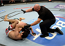 DULUTH, GA - JANUARY 15:  (L-R) Beneil Dariush submits Charlie Brenneman in their welterweight fight during the UFC Fight Night event inside The Arena at Gwinnett Center on January 15, 2014 in Duluth, Georgia. (Photo by Jeff Bottari/Zuffa LLC/Zuffa LLC via Getty Images)
