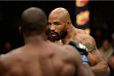 DULUTH, GA - JANUARY 15: (R-L) Yoel Romero battles Derek Brunson in their middleweight fight during the UFC Fight Night event inside The Arena at Gwinnett Center on January 15, 2014 in Duluth, Georgia. (Photo by Jeff Bottari/Zuffa LLC/Zuffa LLC via Getty Images)