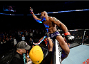 DULUTH, GA - JANUARY 15:  Yoel Romero celebrates his TKO victory over Derek Brunson in their middleweight fight during the UFC Fight Night event inside The Arena at Gwinnett Center on January 15, 2014 in Duluth, Georgia. (Photo by Jeff Bottari/Zuffa LLC/Zuffa LLC via Getty Images)