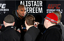 NEW YORK, NY - JANUARY 30:  Alistair Overeem interacts with media during the UFC 169 Ultimate Media Day at The Theater at Madison Square Garden on January 30, 2014 in New York City. (Photo by Josh Hedges/Zuffa LLC/Zuffa LLC via Getty Images)