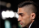 NEW YORK, NY - JANUARY 30:  UFC featherweight title challenger Ricardo Lamas interacts with media during the UFC 169 Ultimate Media Day at The Theater at Madison Square Garden on January 30, 2014 in New York City. (Photo by Josh Hedges/Zuffa LLC/Zuffa LLC via Getty Images)