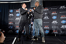 NEW YORK, NY - JANUARY 30:  Frank Mir and Alistair Overeem face off for the media during the UFC 169 Ultimate Media Day at The Theater at Madison Square Garden on January 30, 2014 in New York City. (Photo by Jeff Bottari/Zuffa LLC/Zuffa LLC via Getty Images)