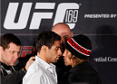 NEW YORK, NY - JANUARY 30:  (L-R) Opponents Renan Barao and Urijah Faber face off during the UFC 169 Ultimate Media Day at The Theater at Madison Square Garden on January 30, 2014 in New York City. (Photo by Josh Hedges/Zuffa LLC/Zuffa LLC via Getty Images)