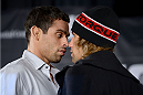 NEW YORK, NY - JANUARY 30:  (L-R) UFC Bantamweight Champion Renan Barao and Urijah Faber face off for the media during the UFC 169 Ultimate Media Day at The Theater at Madison Square Garden on January 30, 2014 in New York City. (Photo by Jeff Bottari/Zuffa LLC/Zuffa LLC via Getty Images)