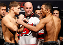 NEWARK, NJ - JANUARY 31:  (L-R) Opponents Al Iaquinta and Kevin Lee face off during the UFC 169 weigh-in at the Prudential Center on January 31, 2014 in Newark, New Jersey. (Photo by Josh Hedges/Zuffa LLC/Zuffa LLC via Getty Images)
