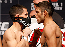 NEWARK, NJ - JANUARY 31:  (L-R) Opponents Chris Cariaso and Danny Martinez face off during the UFC 169 weigh-in at the Prudential Center on January 31, 2014 in Newark, New Jersey. (Photo by Josh Hedges/Zuffa LLC/Zuffa LLC via Getty Images)