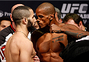 NEWARK, NJ - JANUARY 31:  (L-R) Opponents John Makdessi and Alan Patrick face off during the UFC 169 weigh-in at the Prudential Center on January 31, 2014 in Newark, New Jersey. (Photo by Josh Hedges/Zuffa LLC/Zuffa LLC via Getty Images)
