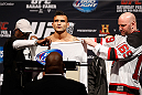 NEWARK, NJ - JANUARY 31:  John Lineker fails to make weight during the UFC 169 weigh-in at the Prudential Center on January 31, 2014 in Newark, New Jersey. (Photo by Josh Hedges/Zuffa LLC/Zuffa LLC via Getty Images)