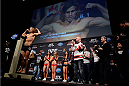 NEWARK, NJ - JANUARY 31:  Urijah Faber steps on the scale during the UFC 169 weigh-in event at the Prudential Center on January 31, 2014 in Newark, New Jersey. (Photo by Jeff Bottari/Zuffa LLC/Zuffa LLC via Getty Images)