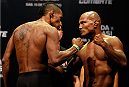 JARAGUA DO SUL, BRAZIL - FEBRUARY 14:  (L-R) Opponents Yuri Alcantara and Wilson Reis face off during the UFC weigh-in at Arena Jaragua on February 14, 2014 in Jaragua do Sul, Santa Catarina, Brazil. (Photo by Josh Hedges/Zuffa LLC/Zuffa LLC via Getty Images)