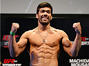 JARAGUA DO SUL, BRAZIL - FEBRUARY 14:  Lyoto Machida weighs in during the UFC weigh-in at Arena Jaragua on February 14, 2014 in Jaragua do Sul, Santa Catarina, Brazil. (Photo by Josh Hedges/Zuffa LLC/Zuffa LLC via Getty Images)