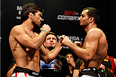 JARAGUA DO SUL, BRAZIL - FEBRUARY 14:  (L-R) Opponents Lyoto Machida and Gegard Mousasi face off during the UFC weigh-in at Arena Jaragua on February 14, 2014 in Jaragua do Sul, Santa Catarina, Brazil. (Photo by Josh Hedges/Zuffa LLC/Zuffa LLC via Getty Images)
