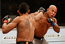JARAGUA DO SUL, BRAZIL - FEBRUARY 15:  (L-R) Yuri Alcantara punches Wilson Reis in their bantamweight fight during the UFC Fight Night event at Arena Jaragua on February 15, 2014 in Jaragua do Sul, Santa Catarina, Brazil. (Photo by Josh Hedges/Zuffa LLC/Zuffa LLC via Getty Images)