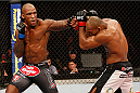 "JARAGUA DO SUL, BRAZIL - FEBRUARY 15:  (L-R) Francis Carmont punches Ronaldo ""Jacare"" Souza in their middleweight fight during the UFC Fight Night event at Arena Jaragua on February 15, 2014 in Jaragua do Sul, Santa Catarina, Brazil. (Photo by Josh Hedges/Zuffa LLC/Zuffa LLC via Getty Images)"