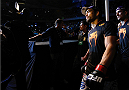 JARAGUA DO SUL, BRAZIL - FEBRUARY 15:  Lyoto Machida enters the arena before his middleweight fight against Gegard Mousasi during the UFC Fight Night event at Arena Jaragua on February 15, 2014 in Jaragua do Sul, Santa Catarina, Brazil. (Photo by Josh Hedges/Zuffa LLC/Zuffa LLC via Getty Images)