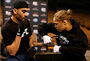 LAS VEGAS, NV - FEBRUARY 19:  UFC women's bantamweight champion Ronda Rousey holds an open training session for fans and media at the Mandalay Bay Events Center on February 19, 2014 in Las Vegas, Nevada. (Photo by Josh Hedges/Zuffa LLC/Zuffa LLC via Getty Images)