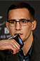 LAS VEGAS, NV - FEBRUARY 20:  Rory MacDonald interacts with media during the final UFC 170 pre-fight press conference at the Mandalay Bay Resort and Casino on February 20, 2014 in Las Vegas, Nevada. (Photo by Josh Hedges/Zuffa LLC/Zuffa LLC via Getty Images)