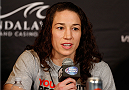 LAS VEGAS, NV - FEBRUARY 20:  Sara McMann interacts with media during the final UFC 170 pre-fight press conference at the Mandalay Bay Resort and Casino on February 20, 2014 in Las Vegas, Nevada. (Photo by Josh Hedges/Zuffa LLC/Zuffa LLC via Getty Images)