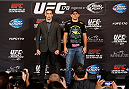 LAS VEGAS, NV - FEBRUARY 20:  (L-R) Opponents Rory MacDonald and Demian Maia pose for photos during the final UFC 170 pre-fight press conference at the Mandalay Bay Resort and Casino on February 20, 2014 in Las Vegas, Nevada. (Photo by Josh Hedges/Zuffa LLC/Zuffa LLC via Getty Images)