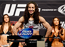 LAS VEGAS, NV - FEBRUARY 21:  Sara McMann weighs in during the UFC 170 weigh-in event at the Mandalay Bay Events Center on February 21, 2014 in Las Vegas, Nevada. (Photo by Josh Hedges/Zuffa LLC/Zuffa LLC via Getty Images)