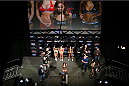 LAS VEGAS, NV - FEBRUARY 21:  Ronda Rousey weighs in during the UFC 170 weigh-in event at the Mandalay Bay Events Center on February 21, 2014 in Las Vegas, Nevada. (Photo by Josh Hedges/Zuffa LLC/Zuffa LLC via Getty Images)