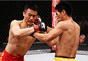 MACAU - MARCH 01:  (L to R) Albert Cheng and Wang Anying exchange punches in their welterweight fight during the UFC Fight Night event at the Venetian Macau on March 1, 2014 in Macau. (Photo by Mitch Viquez/Zuffa LLC/Zuffa LLC via Getty Images)