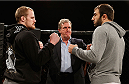 LONDON, ENGLAND - MARCH 05:  (L-R) Opponents Gunnar Nelson and Omari Akhmedov face off after an open training session for fans and media at One Embankment on March 5, 2014 in London, England. (Photo by Josh Hedges/Zuffa LLC/Zuffa LLC via Getty Images)