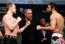 LONDON, ENGLAND - MARCH 07:  (L-R) Opponents Gunnar Nelson and Omari Akhmedov face off during the UFC weigh-in event at the O2 Arena on March 7, 2014 in London, England. (Photo by Josh Hedges/Zuffa LLC/Zuffa LLC via Getty Images)