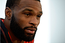 DALLAS, TX - MARCH 13:  Tyron Woodley speaks with the media during the UFC 171 Ultimate Media Day at American Airlines Center on March 13, 2014 in Dallas, Texas. (Photo by Jeff Bottari/Zuffa LLC/Zuffa LLC via Getty Images)