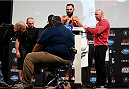 DALLAS, TX - MARCH 14:  Johny Hendricks weighs in during the UFC 171 official weigh-in at Gilley's Dallas on March 14, 2014 in Dallas, Texas. (Photo by Josh Hedges/Zuffa LLC/Zuffa LLC via Getty Images)