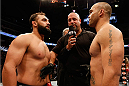 DALLAS, TX - MARCH 15:  (L-R) Opponents Johny Hendricks and Robbie Lawler face off before their UFC welterweight championship bout at UFC 171 inside American Airlines Center on March 15, 2014 in Dallas, Texas. (Photo by Josh Hedges/Zuffa LLC/Zuffa LLC via Getty Images)