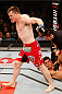 NATAL, BRAZIL - MARCH 23:  CB Dollaway reacts after his knockout victory over Cezar