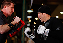 QUEBEC CITY, CANADA - APRIL 13:  Tim Kennedy holds an open training session for fans and media at the Centre Commercial Place Fleur de Lys on April 13, 2014 in Quebec City, Quebec, Canada. (Photo by Josh Hedges/Zuffa LLC/Zuffa LLC via Getty Images)