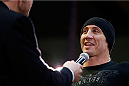 QUEBEC CITY, CANADA - APRIL 13:  Tim Kennedy is interviewed after an open training session for fans and media at the Centre Commercial Place Fleur de Lys on April 13, 2014 in Quebec City, Quebec, Canada. (Photo by Josh Hedges/Zuffa LLC/Zuffa LLC via Getty Images)