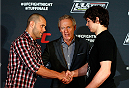 QUEBEC CITY, CANADA - APRIL 14:  (L-R) Opponents Chad Laprise and Olivier Aubin-Mercier shake hands during the UFC Ultimate Media Day at the TRYP Quebec Hotel on April 14, 2014 in Quebec City, Quebec, Canada. (Photo by Josh Hedges/Zuffa LLC/Zuffa LLC via Getty Images)