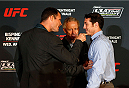 QUEBEC CITY, CANADA - APRIL 14:  (L-R) Opponents Michael Bisping and Tim Kennedy face off during the UFC Ultimate Media Day at the TRYP Quebec Hotel on April 14, 2014 in Quebec City, Quebec, Canada. (Photo by Josh Hedges/Zuffa LLC/Zuffa LLC via Getty Images)