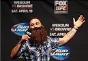 ORLANDO, FL - APRIL 18:  Former UFC lightweight champion Frankie Edgar tries on a fan's fake beard during a Q&A session before the FOX UFC Saturday weigh-in at the Amway Center on April 18, 2014 in Orlando, Florida. (Photo by Josh Hedges/Zuffa LLC/Zuffa LLC via Getty Images)