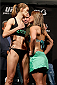 BALTIMORE, MD - APRIL 25: (L-R) Opponents Jessamyn Duke and Bethe Correia face off during the UFC 172 weigh-in at the Baltimore Arena on April 25, 2014 in Baltimore, Maryland. (Photo by Josh Hedges/Zuffa LLC/Zuffa LLC via Getty Images)