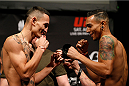 BALTIMORE, MD - APRIL 25:  (L-R) Opponents Max Holloway and Andre Fili face off during the UFC 172 weigh-in at the Baltimore Arena on April 25, 2014 in Baltimore, Maryland. (Photo by Josh Hedges/Zuffa LLC/Zuffa LLC via Getty Images)
