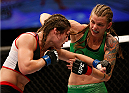 BALTIMORE, MD - APRIL 26:  (R-L) Jessamyn Duke punches Bethe Correia in their women's bantamweight bout during the UFC 172 event at the Baltimore Arena on April 26, 2014 in Baltimore, Maryland. (Photo by Josh Hedges/Zuffa LLC/Zuffa LLC via Getty Images)