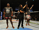 BALTIMORE, MD - APRIL 26:  Anthony Johnson (R) reacts after his decision victory over Phil Davis in their light heavyweight bout during the UFC 172 event at the Baltimore Arena on April 26, 2014 in Baltimore, Maryland. (Photo by Patrick Smith/Zuffa LLC/Zuffa LLC via Getty Images)