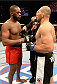 "BALTIMORE, MD - APRIL 26:  (L-R) Opponents Jon ""Bones"" Jones and Glover Teixeira face off before their light heavyweight championship bout during the UFC 172 event at the Baltimore Arena on April 26, 2014 in Baltimore, Maryland. (Photo by Josh Hedges/Zuffa LLC/Zuffa LLC via Getty Images)"