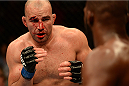 BALTIMORE, MD - APRIL 26:  (L-R) Glover Teixeira squares off with Jon